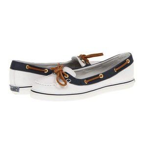 Sperry Topsiders Boat Shoes Lola Ivory/Navy 9.5